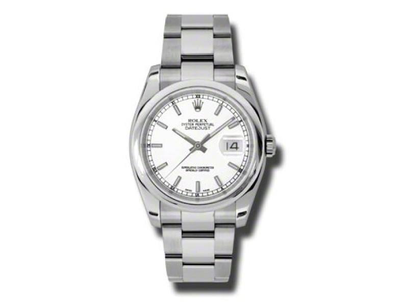 Rolex Datejust Steel White Stick Dial 36mm Watch