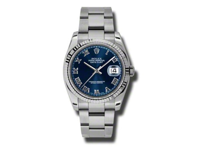 Rolex Datejust Steel and White Gold Blue Roman Dial 36mm Watch