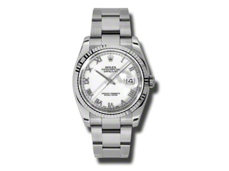 Rolex Datejust Steel and White Gold White Roman Dial 36mm Watch