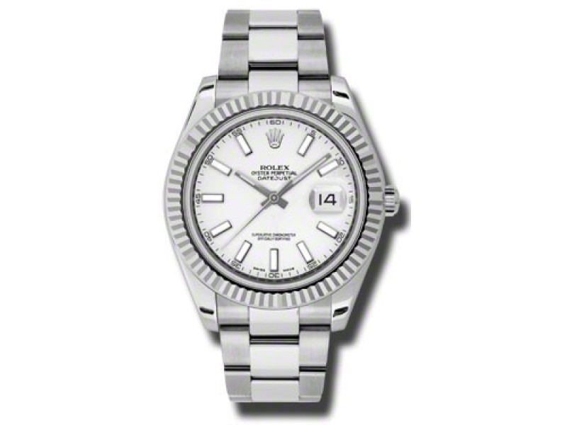 Rolex Datejust II 116334 WSO Steel and White Gold White Dial 41mm Watch