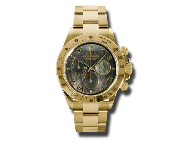Rolex Daytona Yellow Gold Dark Mother of Pearl Dial 40mm Watch