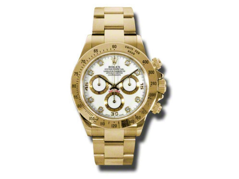 Rolex Daytona Yellow Gold White Diamond Dial 40mm Watch