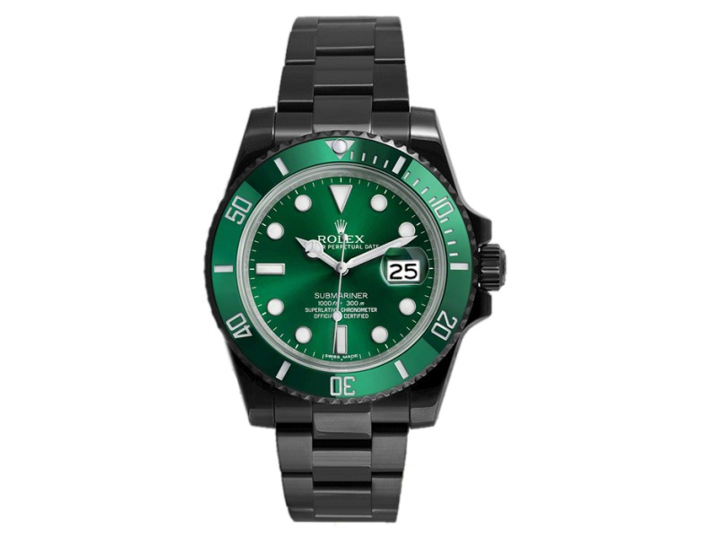 Rolex Submariner 116610LV DLC-PVD Stainless Steel Green Ceramic Bezel Green Dial Automatic 40mm Mens Watch