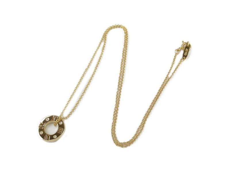 TIFFANY&CO 18k pink gold/4P diamond Atlas necklace RCB-35