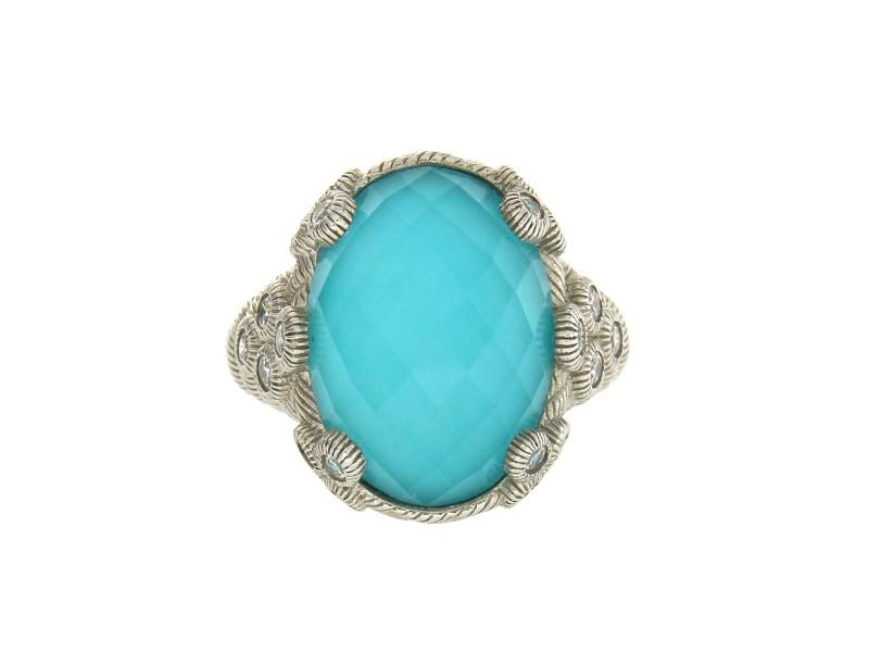 Judith Ripka 925 Sterling Silver Blue Doublet & Diamonique Ring Size 7
