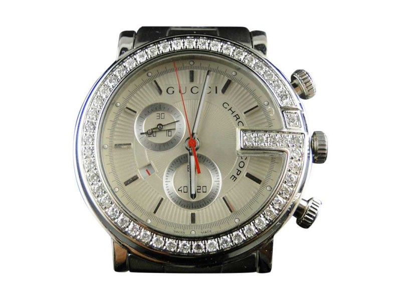 "Gucci ""G"" Steel Pvd Ya 3 Ct Diamond Mens Watch"