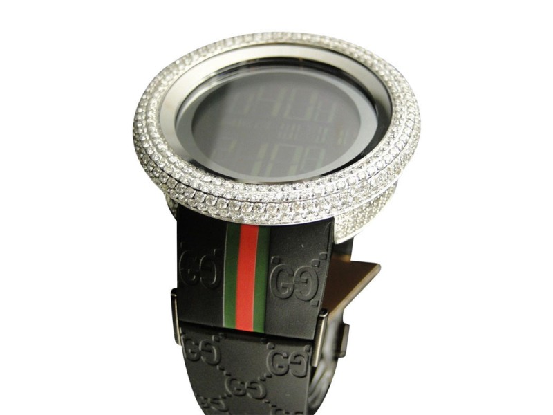 Gucci White Bezel I Yah 114 Digital 2 Timezone Diamond  Mens Watch