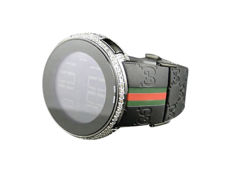 Gucci Mens Custom White Full I Digital Diamond 5.5 Ct Watch