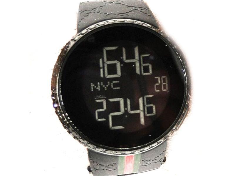26214af2b67 Gucci Digital Ya114207 Black Diamond 5.5 Ct Mens Black Watch