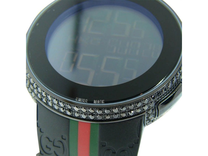 Gucci Digital Diamond Black Diamond Full Case Mens Watch