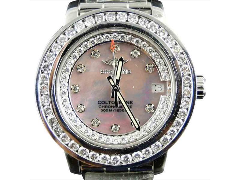 Breitling Aeromarine Pink Dial Colt Ocean Diamond 3 Ct Watch