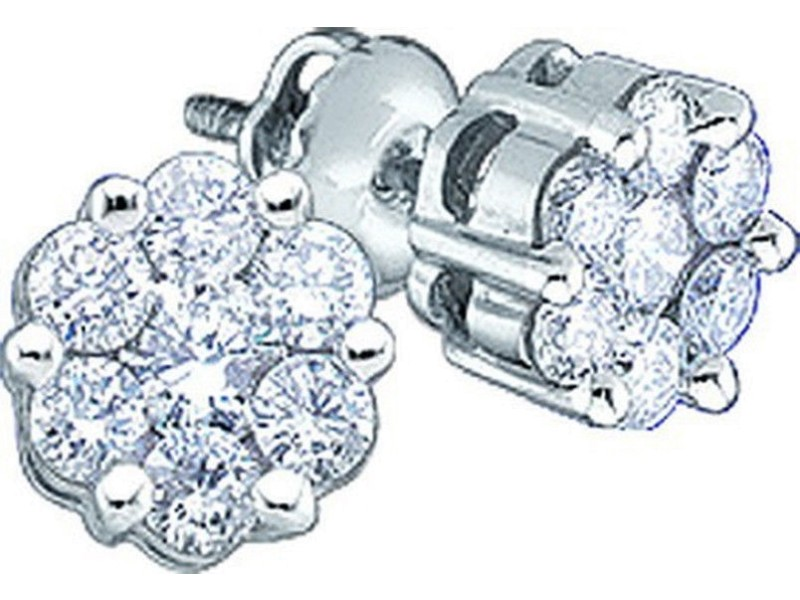 14K White Gold  Round 1/4ct Diamond Flower Cluster Mens Ladies 5mm Studs Earrings