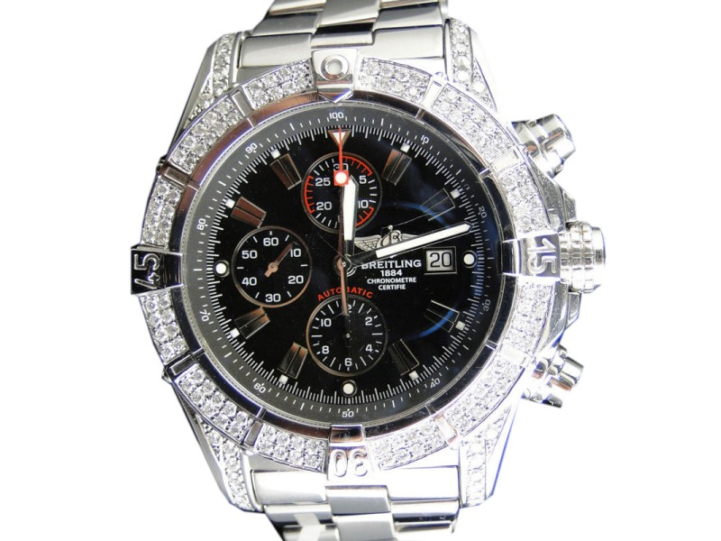 Breitling Black Dial Genuine 2.5 Ct Diamond Stainless Steel Band Mens XL Watch