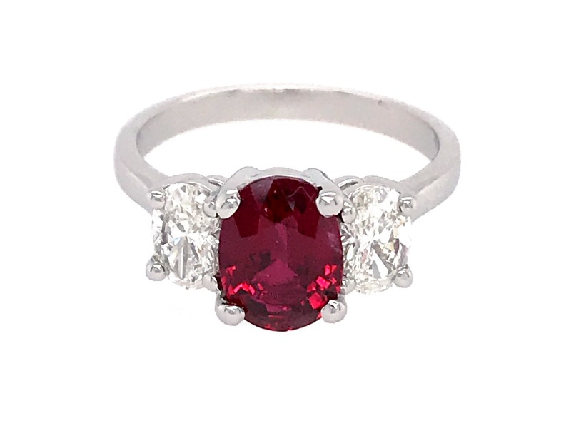 Estate Platinum Natural Ruby and Diamond Engagement Ring