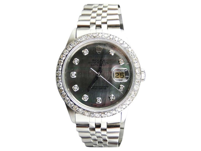 Rolex Stainless Steel 2.15Ct Diamond Black Dial Datejust Jubilee Mens Watch