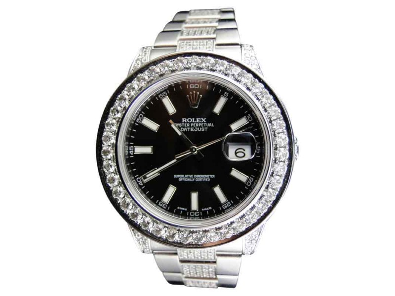 Rolex Date Just II 2 With Genuine Diamonds 12.5 Ct Black Mens Watch