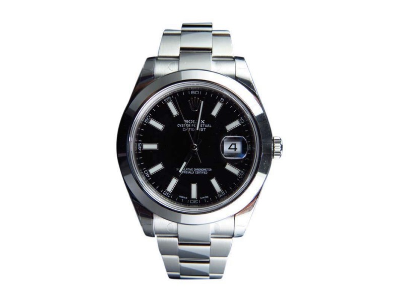 Rolex DateJust II 2 116300  41 MM Black Stick Dial Smooth Bezel Mens Watch