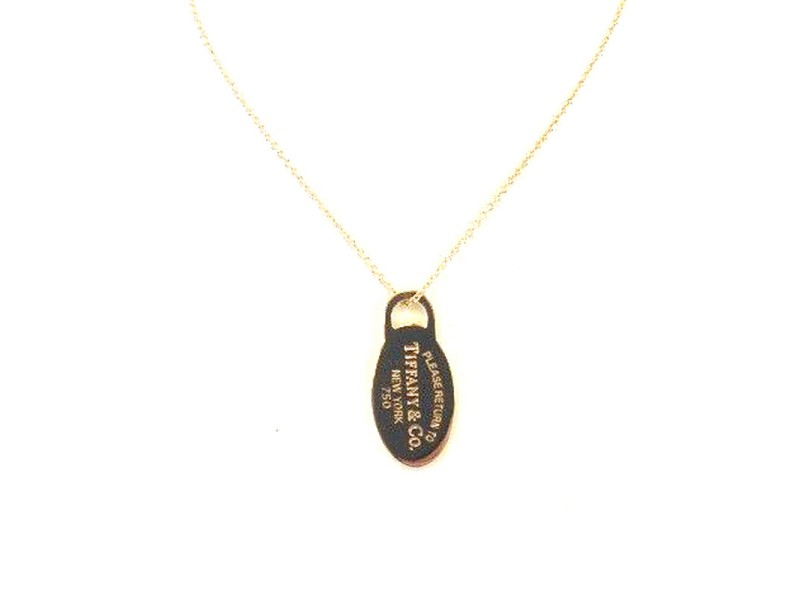 Tiffany & Co. 18K Yellow Gold Oval Dog Tag Necklace