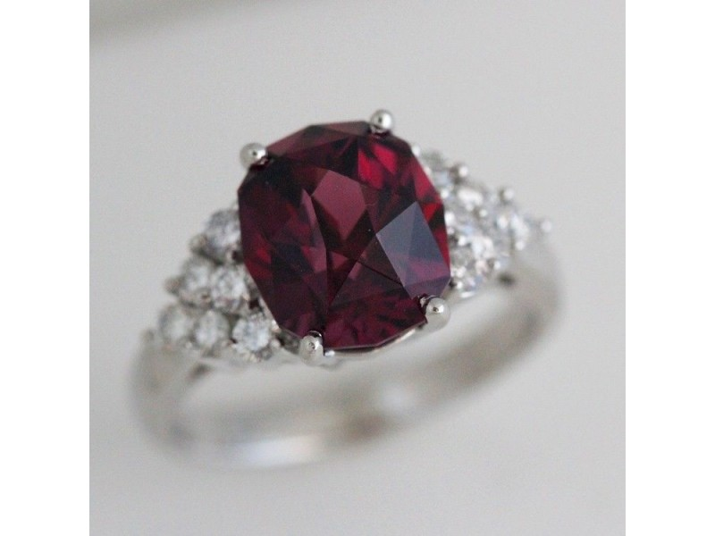 Platinum Rhodolite Garnet & Diamond Ring