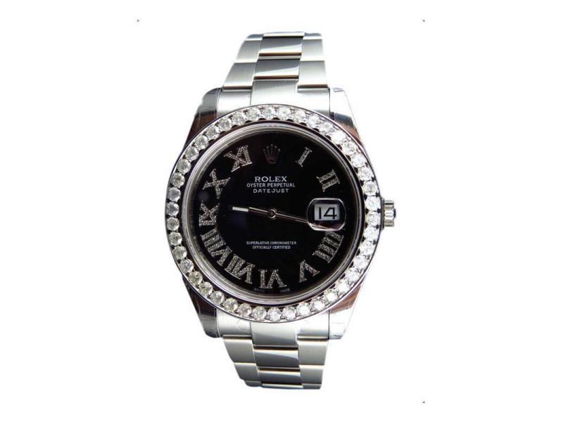 Rolex 116300 Rolex Date Just II 2 With Roman Genuine 4.5 Ct Diamonds 41 MM Mens Watch