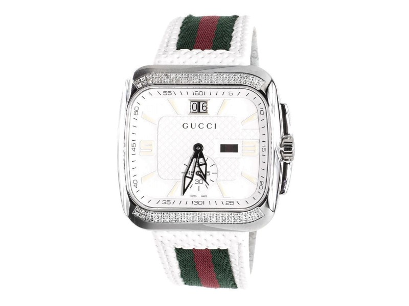 Gucci YA131303 Coupe Red Green Flag Band White 1.0ct Diamond Sports Mens Watch