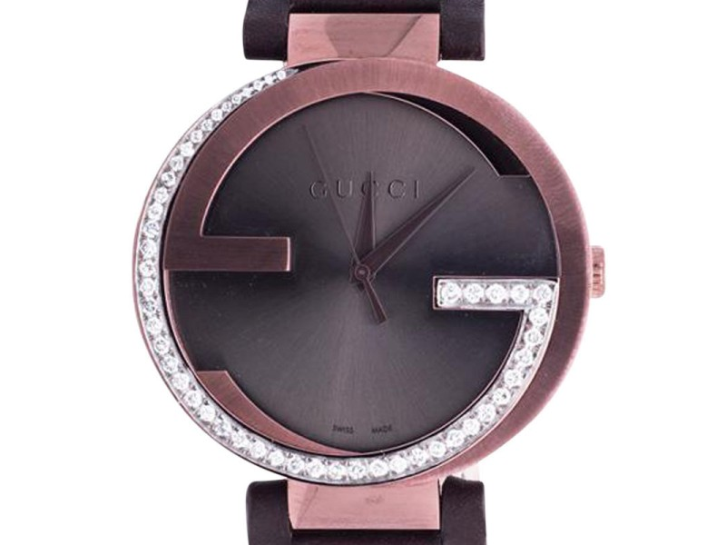 Gucci YA133207 Copper Brown PVD 42 MM XL Interlocking GG 1.25 ct Diamond Watch