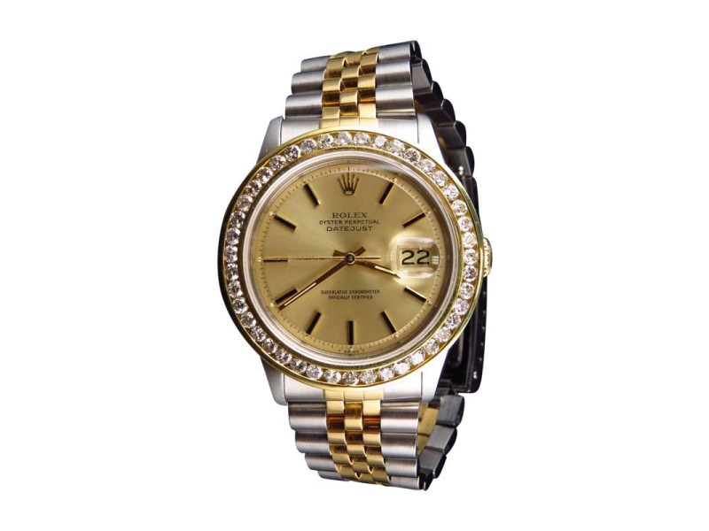 Rolex Datejust 2 Tone Oyster 18k Stainless Steel 4 Ct Diamond Mens Watch