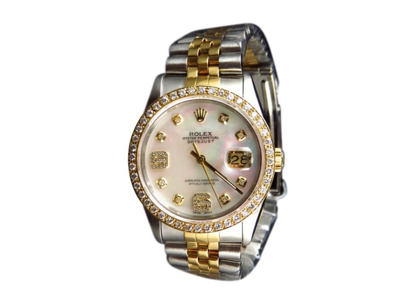 Rolex Datejust 2 Tone Jubilee 18k Stainless Steel White 36 MM MOP Diamond Watch