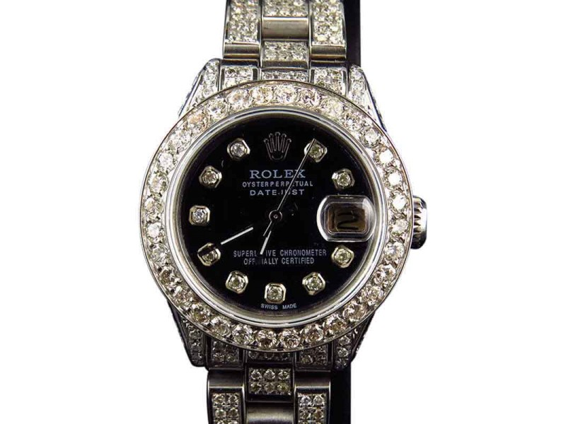 Rolex Stainless Steel Datejust Oyster Diamond Black MOP Dial Watch