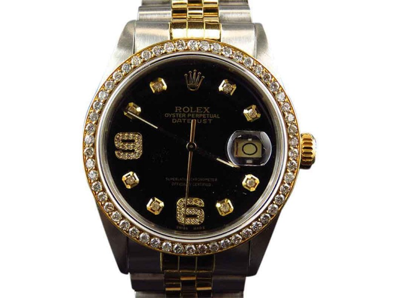Rolex Datejuste 36mm 18k Stainless Steel Black Dial Diamond 2.5 Ct Watch