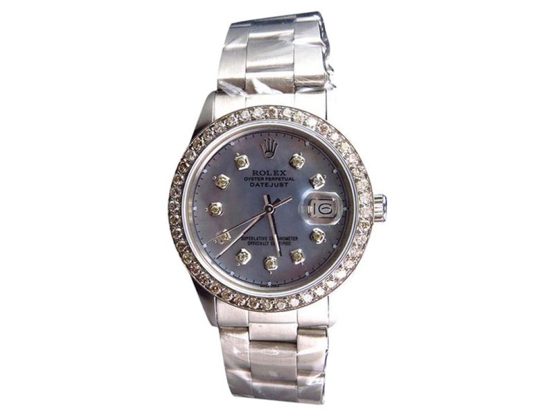 Rolex Datejust Oyster Pave MOP Stainless Steel Diamond 36mm Watch