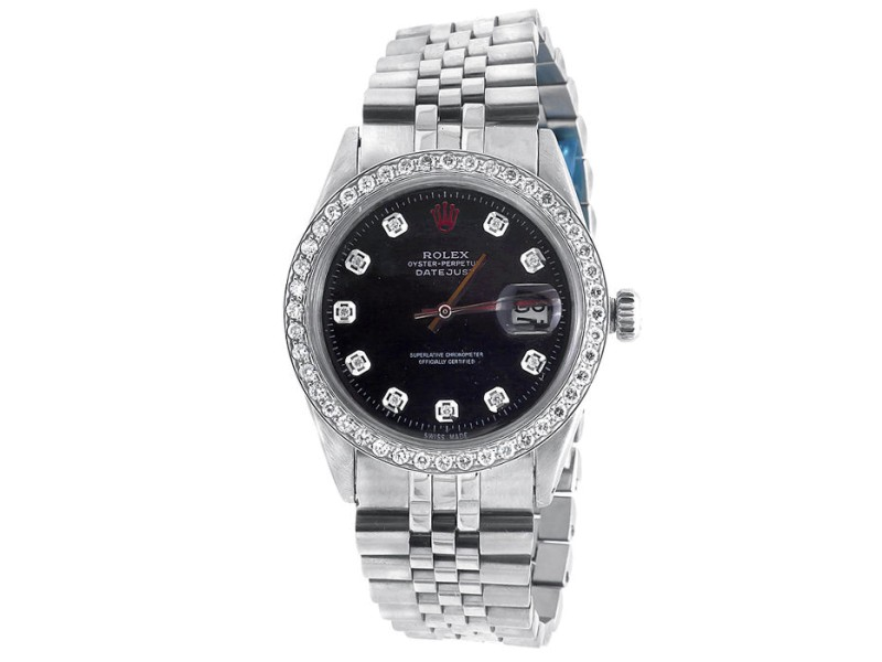 Rolex 36MM Datejust Jubilee Stainless Steel 2.15 Ct Diamond  Mens Watch