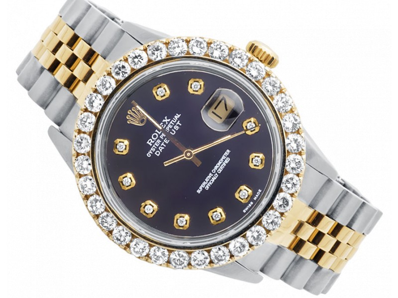 Rolex Datejust 2 Tone 18k Gold Jubilee Band Prong Set Diamond Watch