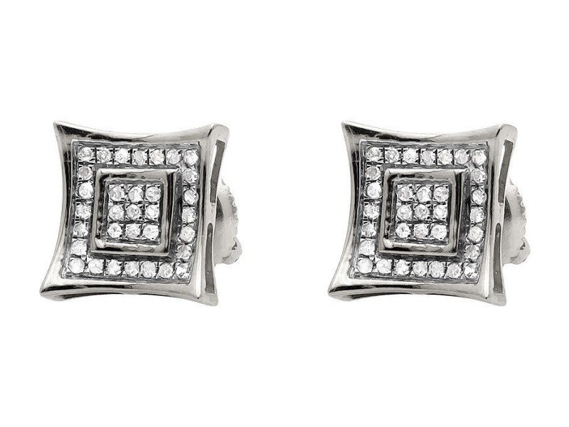 10K White Gold Diamond Stud Earrings
