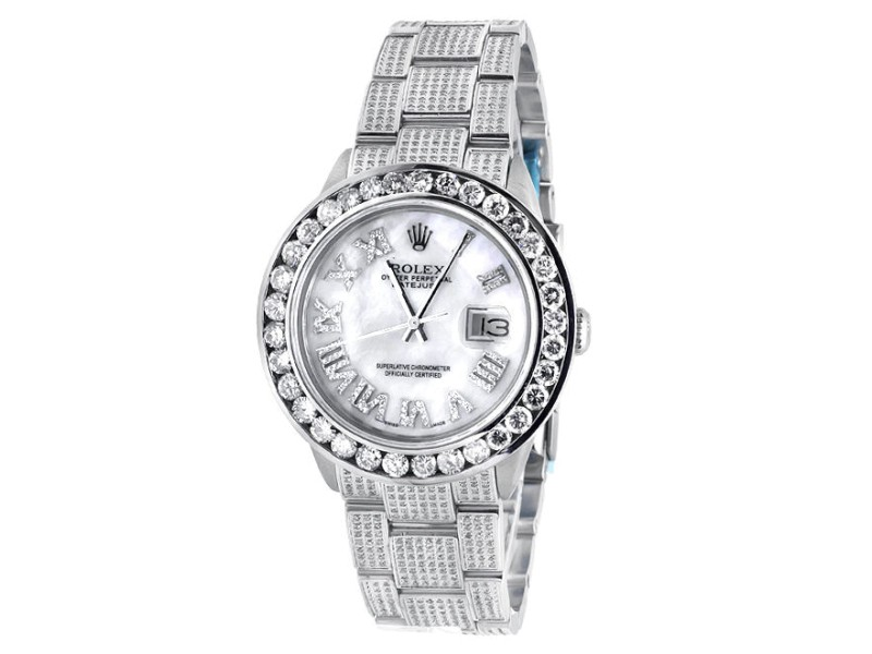 Rolex Datejust Oyster 8.5 Ct Diamond Dial Stainless Steel Mens 36 mm Watch