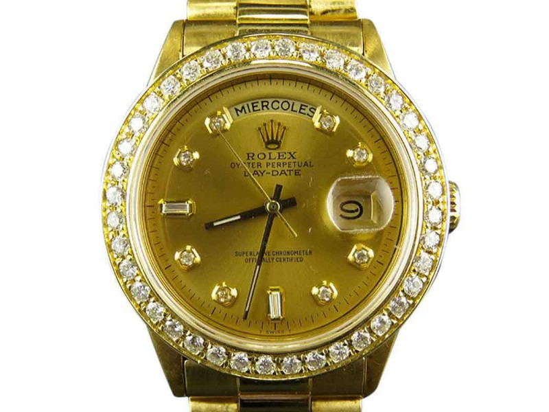 Rolex Presidential Day-Date 18K Yellow Gold 3.5ct Diamond Mens 37mm Watch