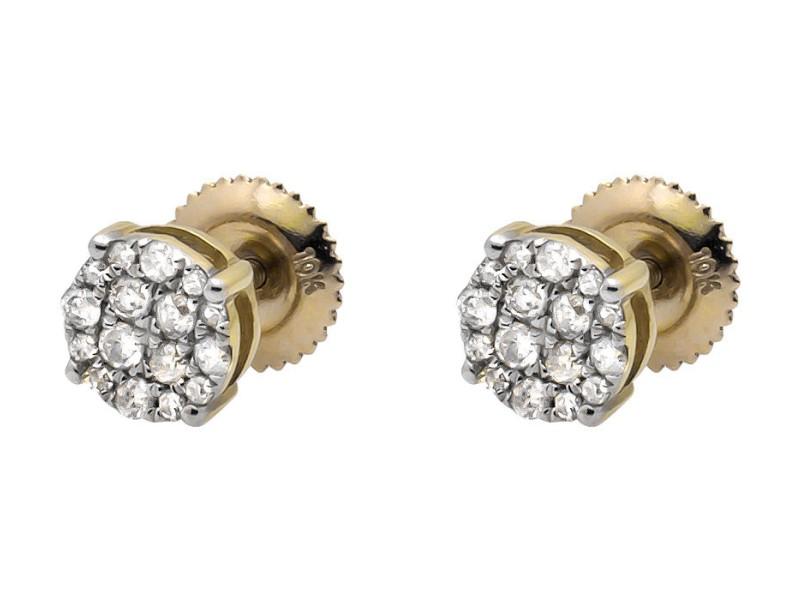 10K Yellow Gold Round Halo Cluster Genuine Diamond Stud Earring