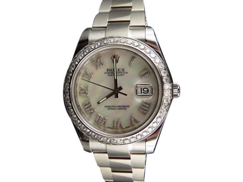 Rolex Datejust II 116300 White Mother of Pearl Roman Diamond Mens 41mm Watch