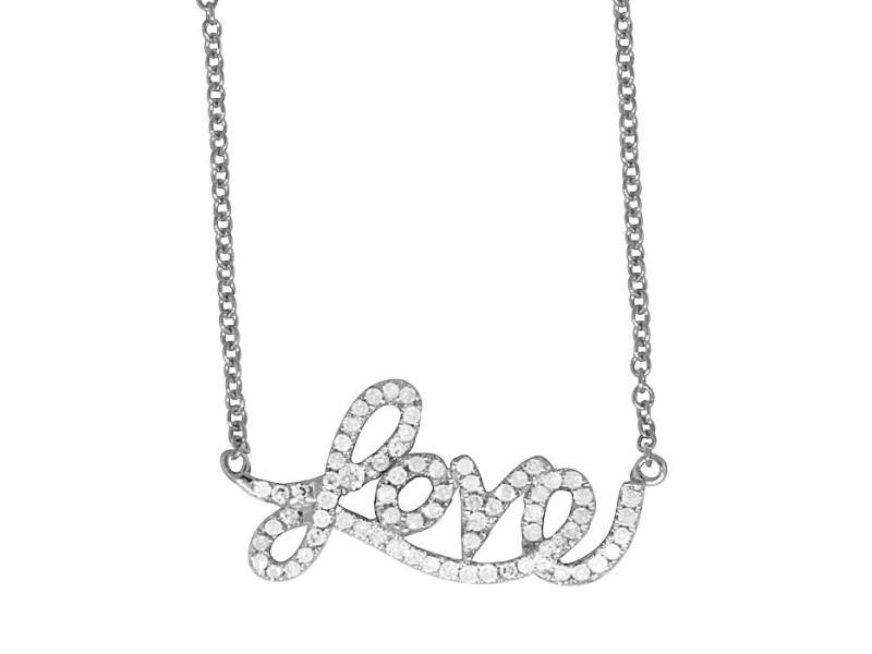 14K White Gold & 0.30ct Diamond Love Pendant Charm Necklace