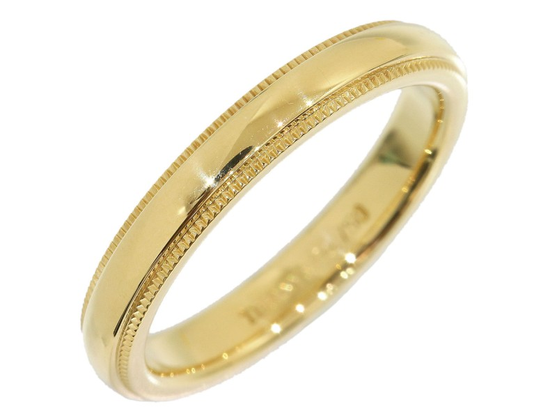 Tiffany Co 18K Yellow Gold Milgrain Wedding Band Ring Size 55