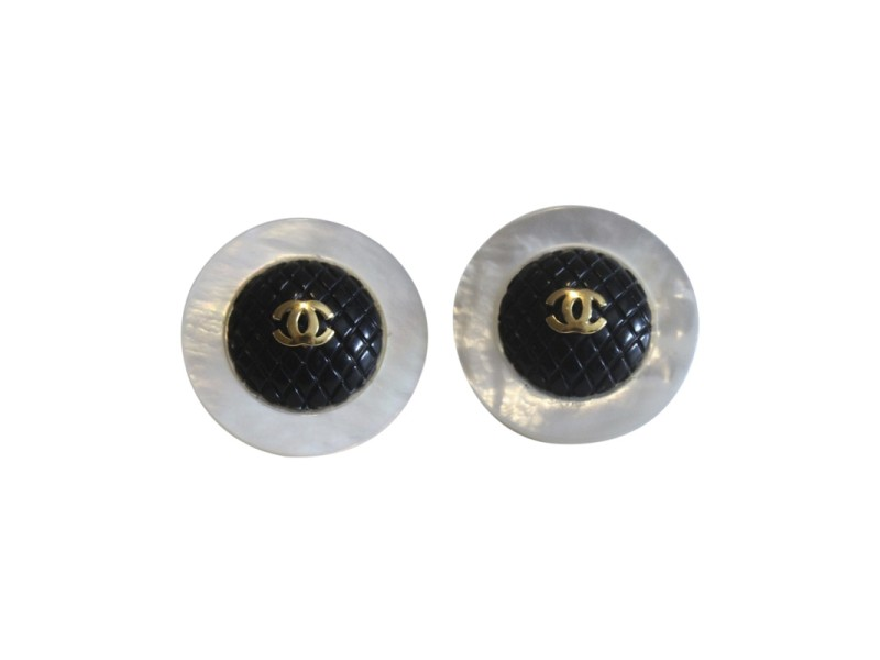 Chanel Gold Tone Hardware & Mother of Pearl Black CC Clip On Button Vintage Earrings