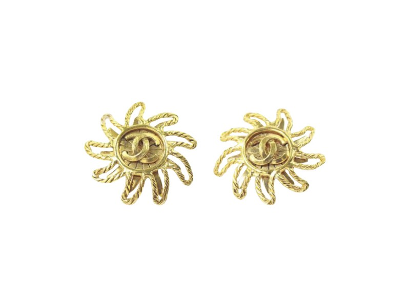 Chanel Gold Tone Hardware Button Signature Sunshine Shape Clip On Vintage Earrings