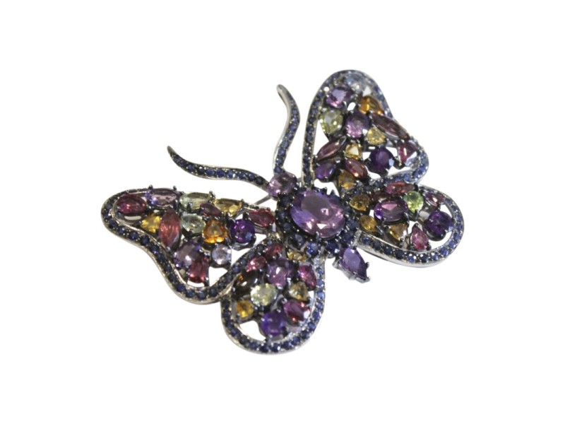 Kanaris 925 Sterling Silver with Multiple Gemstones Butterfly Brooch