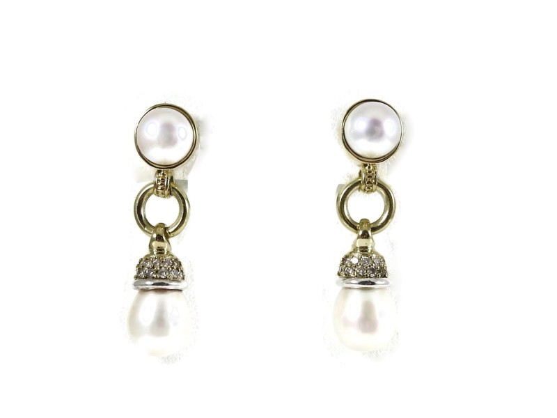 Lagos Circle Game  Sterling Silver .39tcw Pearl, Diamond Earrings