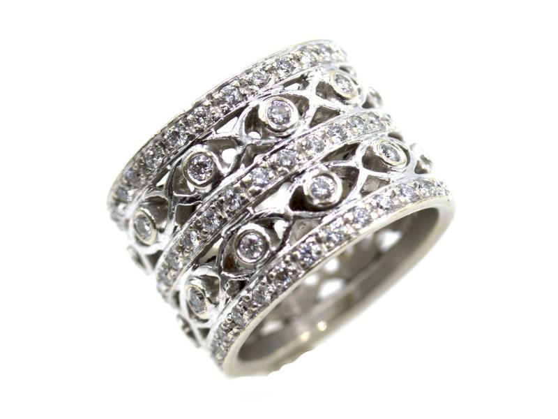 Doris Panos 18K White Gold Diamond Open Ring Size 6.5