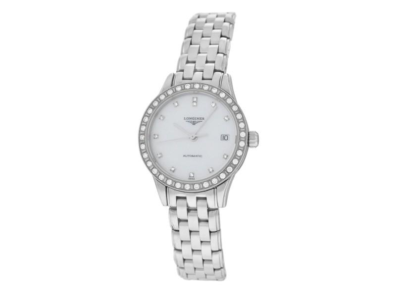 Ladies Longines Flagship L42740876 Steel Watch Diamond MOP Automatic