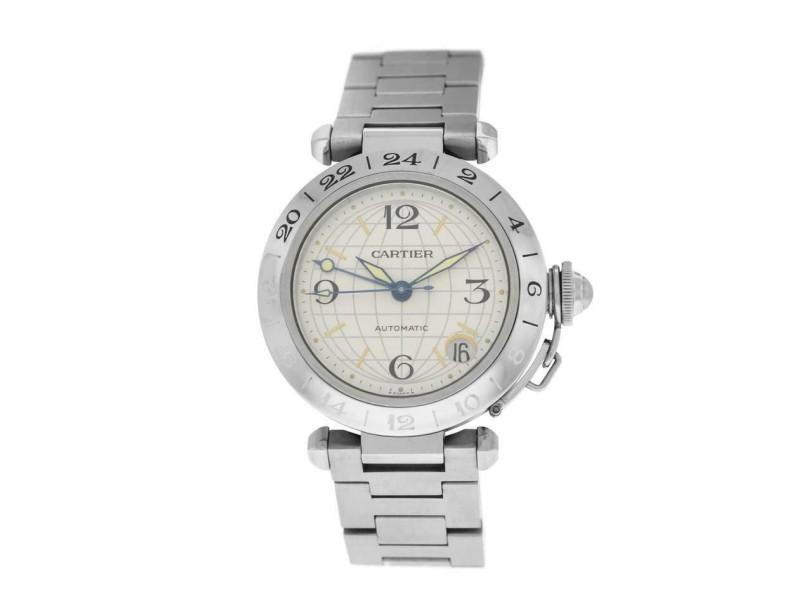 Unisex Midsize Cartier Pasha GMT 2377 W31029M7 Steel Date Automatic 35MM Watch