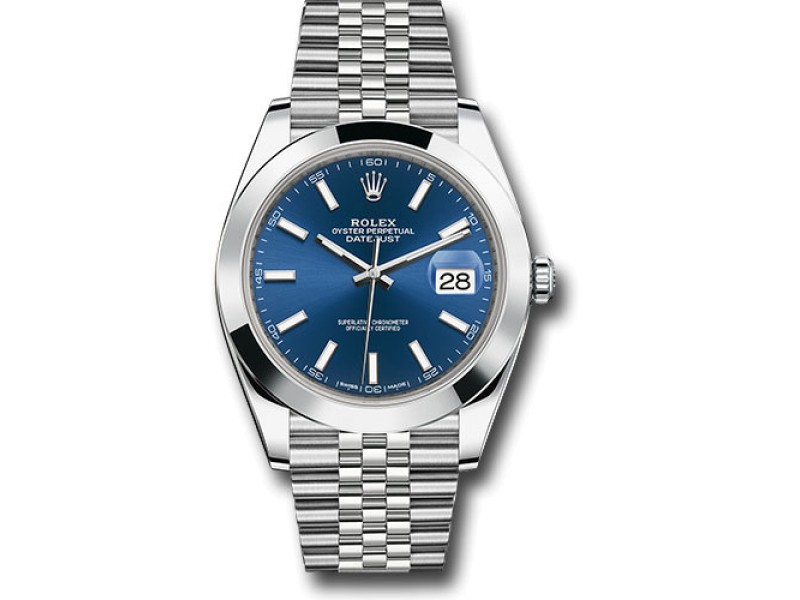 Rolex Oyster Perpetual Datejust 126300 blij Stainless Steel 41mm Mens Watch