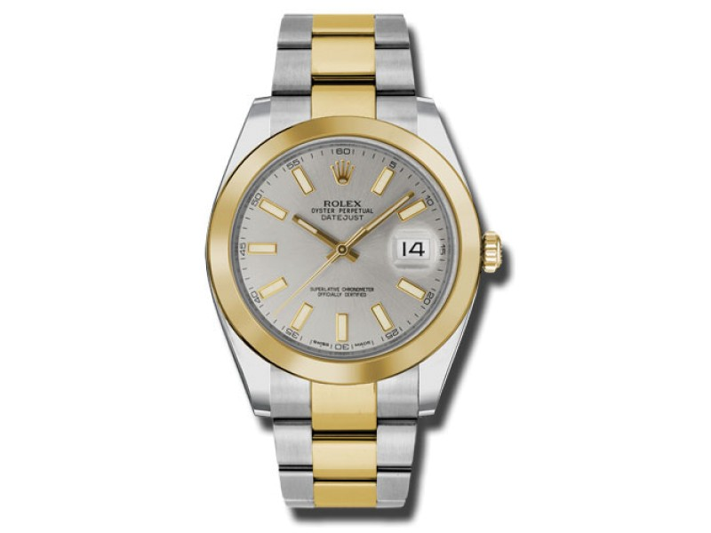 Rolex Two-Tone DateJust II Yellow Gold Silver Index Dial Watch