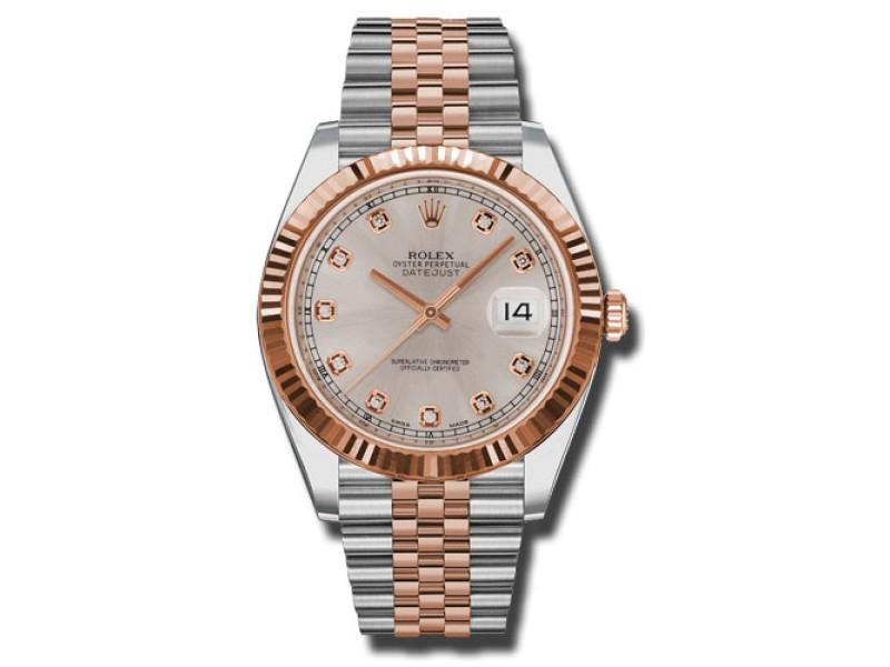 Rolex Two-Tone DateJust II 126331 sudj Rose Gold Sundust Diamond Dial Watch